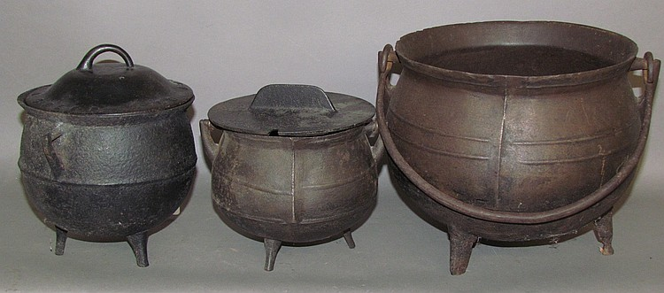 "3 cast iron ball shaped ""gypsy"" cauldrons"
