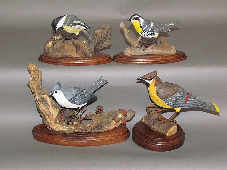 4 bird carvings by Charles Hornberger