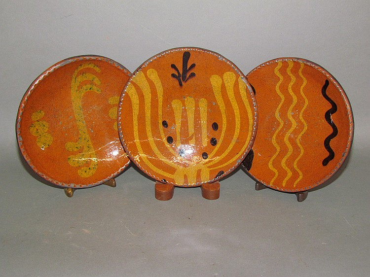 3 Shooner slip decorated pie plates