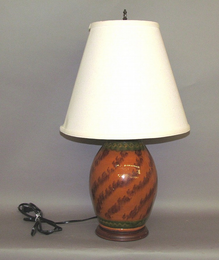 Shooner redware jar base table lamp