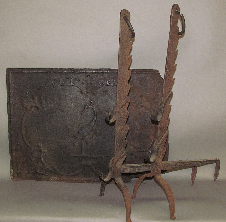 Pine Grove forge stove plate & pair of roasting andirons