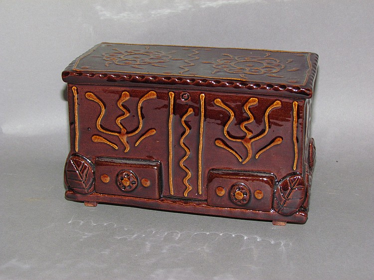 Breininger Pottery redware blanket chest bank