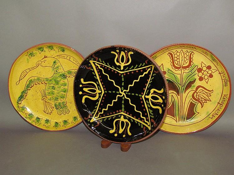 Lot 69: 3 Breininger redware plates