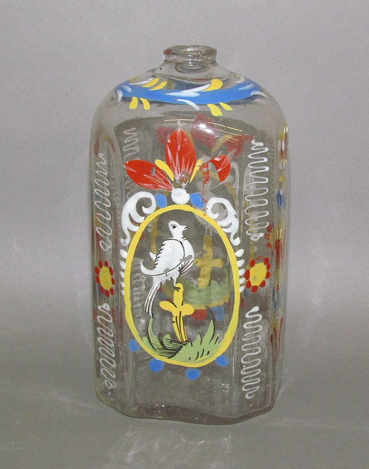 Stiegel type enameled bottle