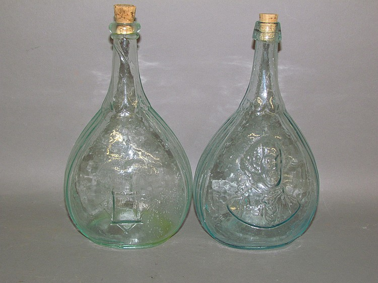 Lot 172: 2 aquamarine glass calabash quart bottles