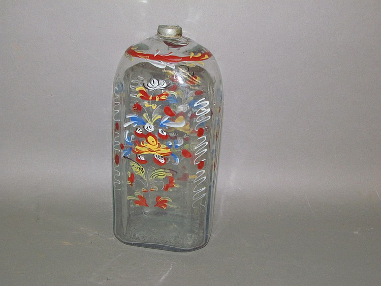 Large Stiegel type enameled bottle