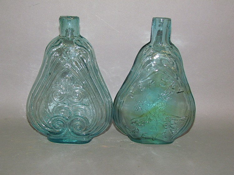 2 violin shaped aquamarine glass pint flasks