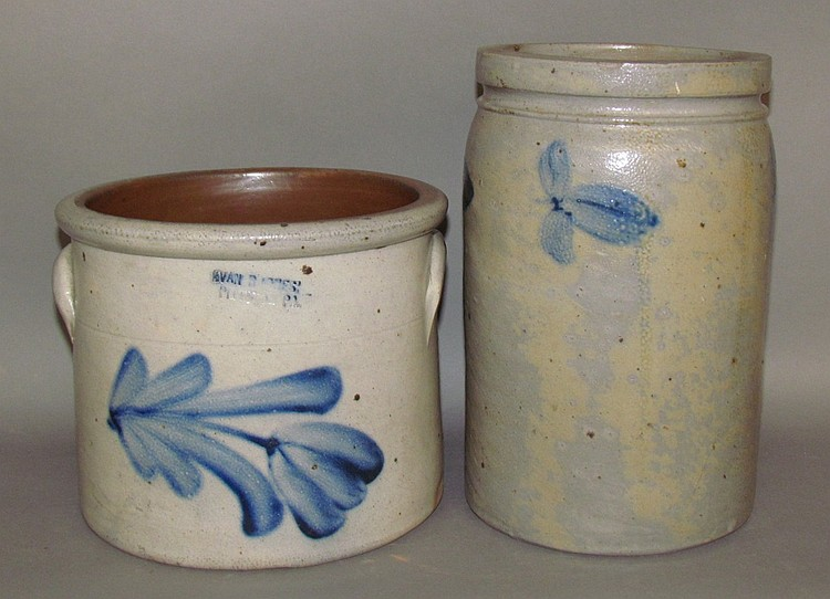 2 cobalt decorated stoneware pieces