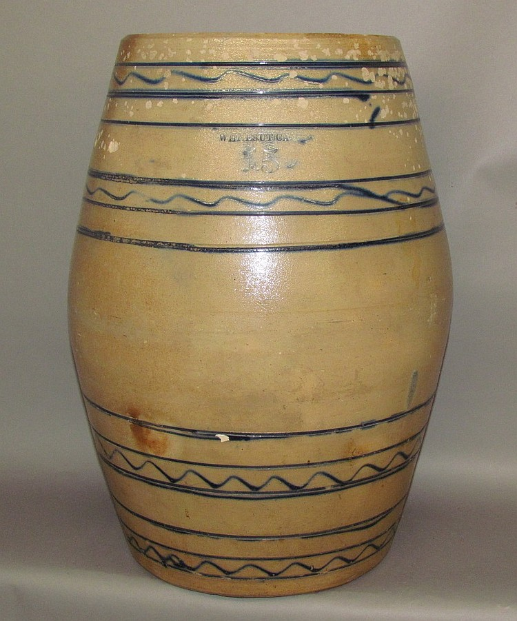 15 gallon cobalt decorated Whites, Utica stoneware barrel