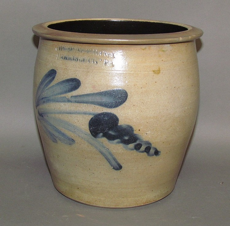 Cobalt decorated Cowden & Wilcox cream crock