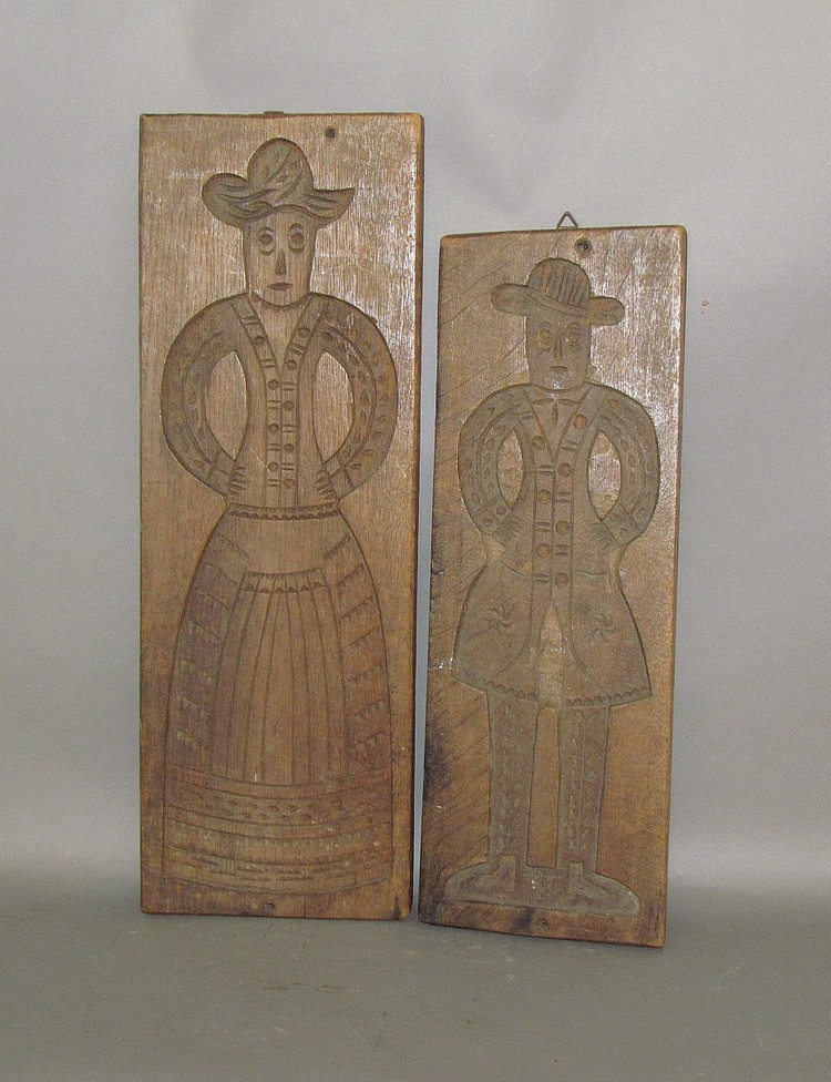 2 German carved oak cookie boards
