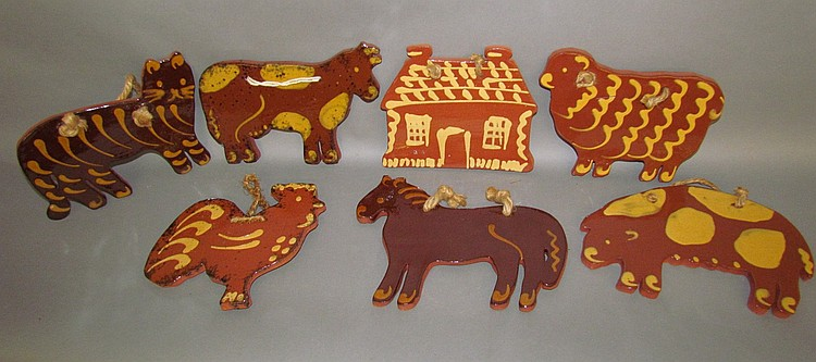 Set of 7 redware animal/figural tree ornaments by Ned Foltz