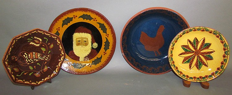 4 reproduction redware plates