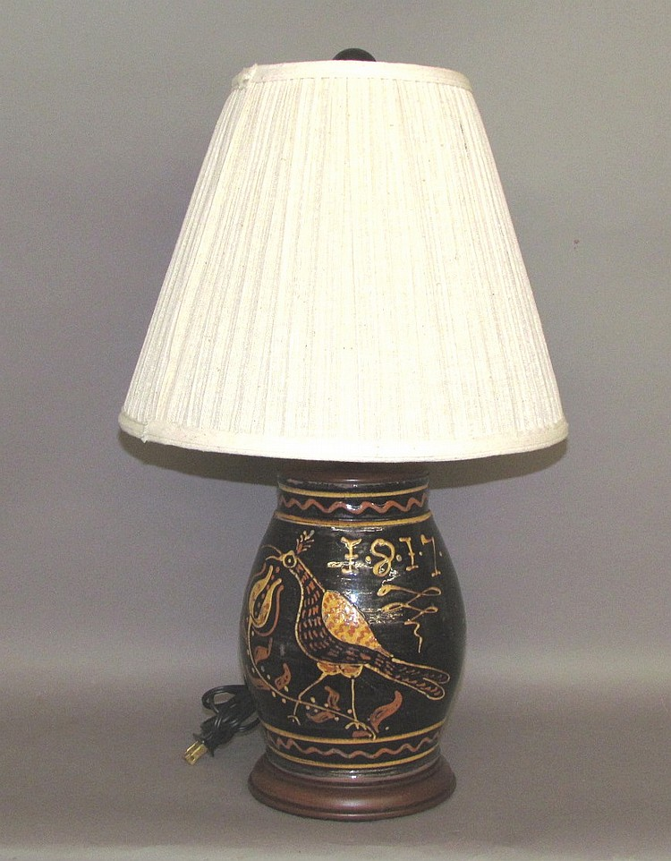 Moravian inspired peafowl & tulip design lamp base
