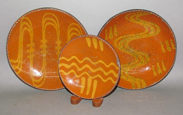3 Shooner slipware pie plates