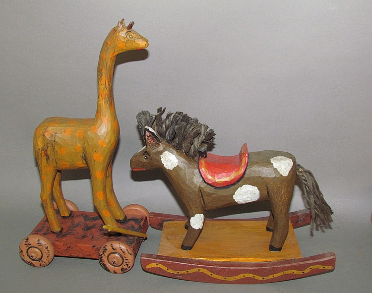 2 Strawser folk art carved animals