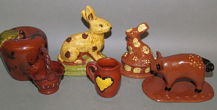 6 pieces of reproduction redware