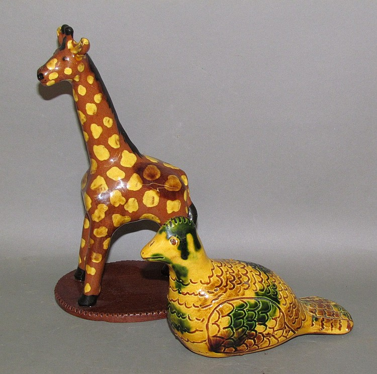 2 Breininger redware animals