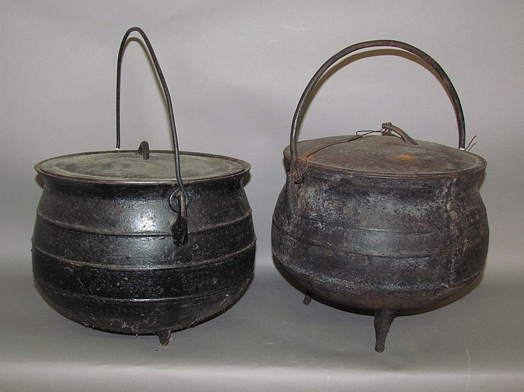 "2 cast iron ball shaped ""gypsy"" cauldrons"