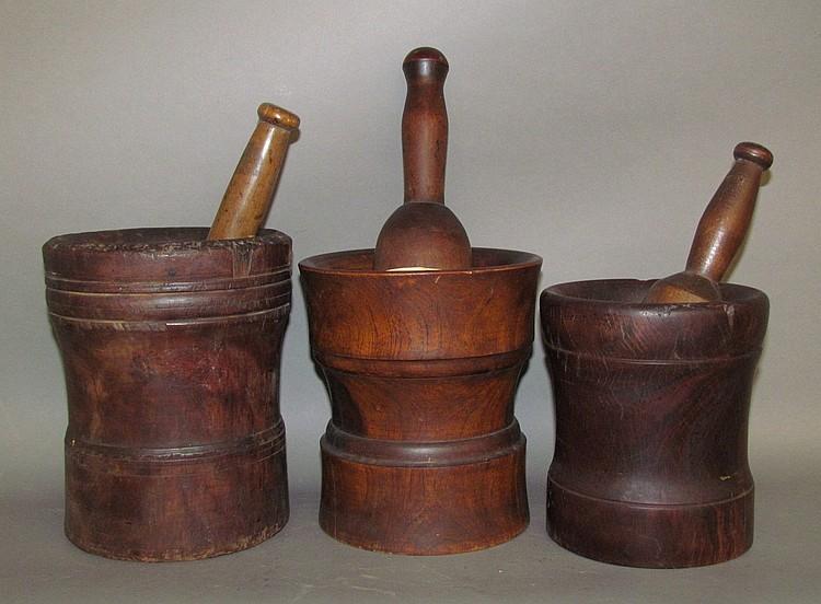 Lot 41: 3 lignum vitae mortars & pestles