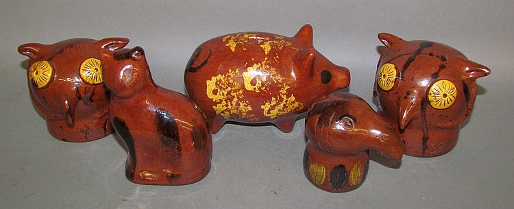 5 Breininger folk art redware figural banks