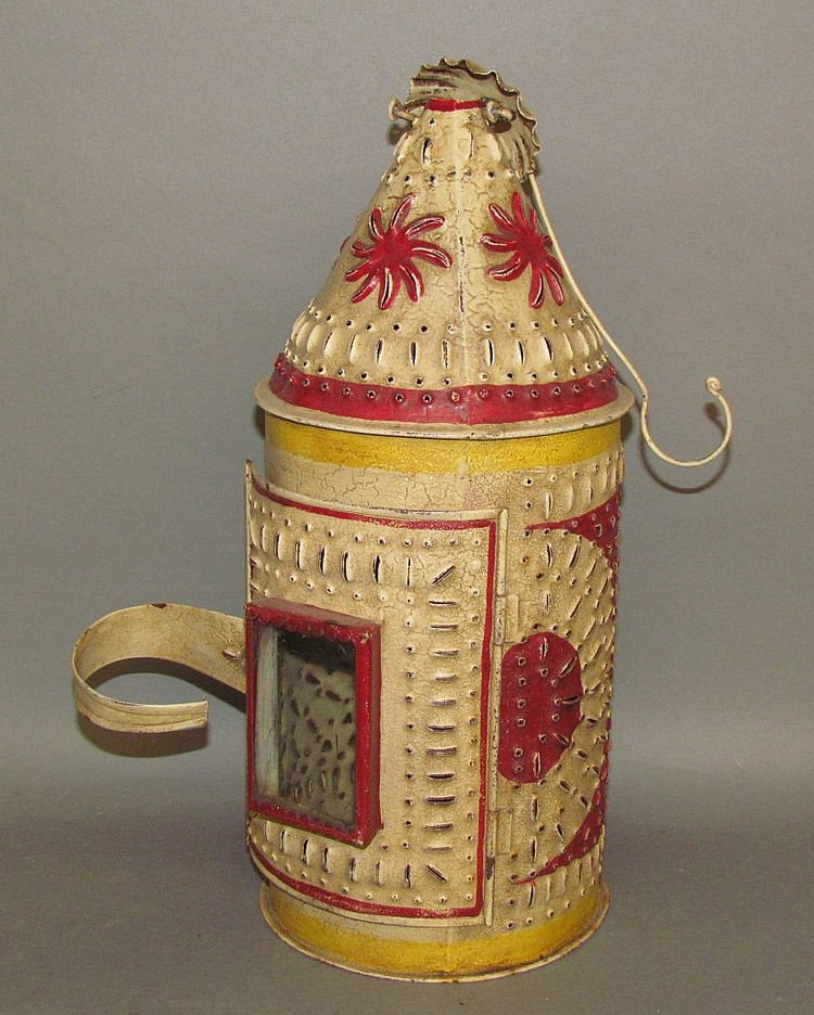 Lot 147: Pierced & punched tin hanging candle lantern