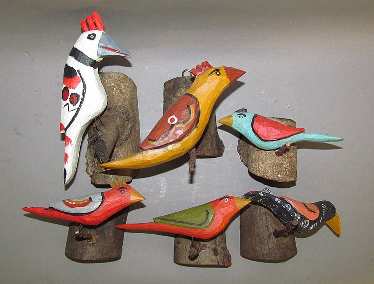 6 Strawser folk art bird carvings