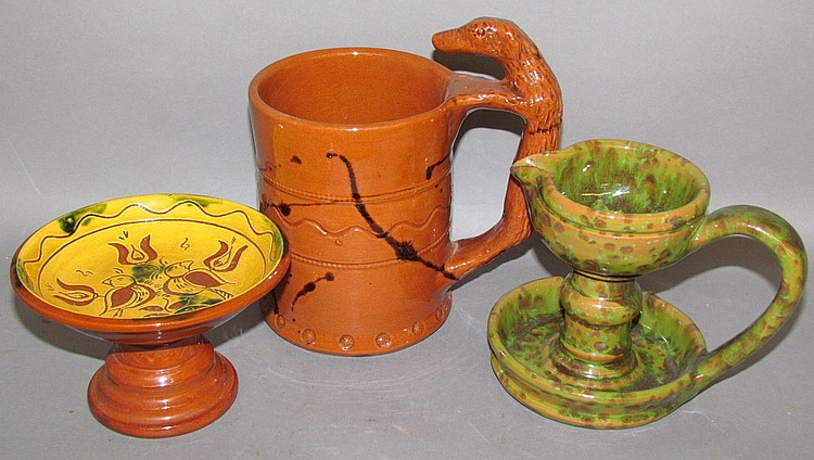 3 pieces of Breininger redware