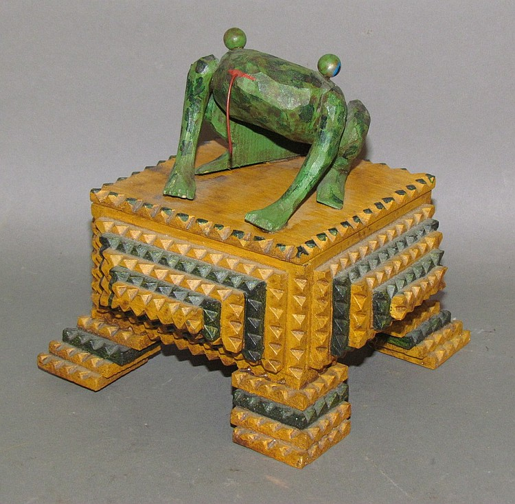 Strawser folk art frog on tramp art trinket box