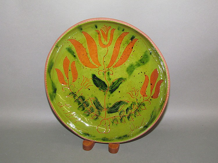 Breininger green sgraffito plate