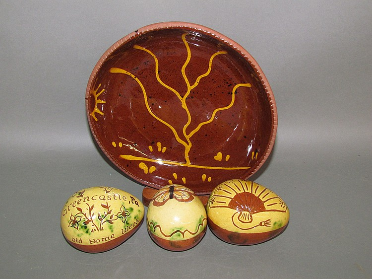 4 pieces of Breininger redware