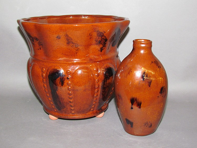 2 pieces of Breininger redware
