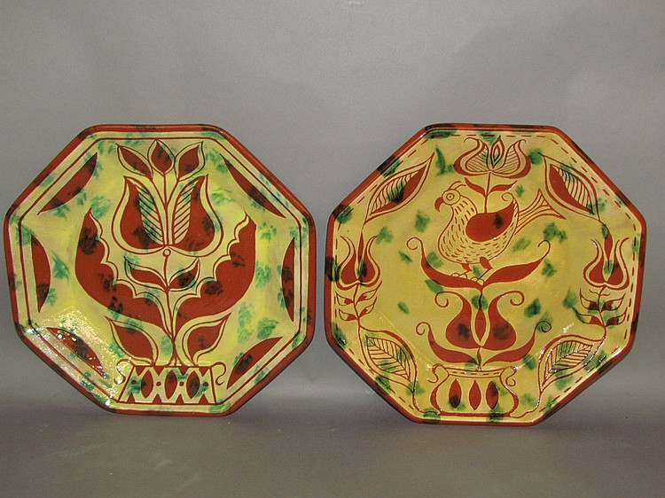 Lot 79: 2 Seagraves octagon sgraffito redware plates