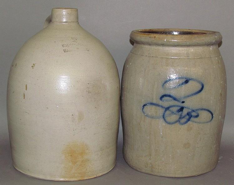 Lot 522: Stoneware jug & crock