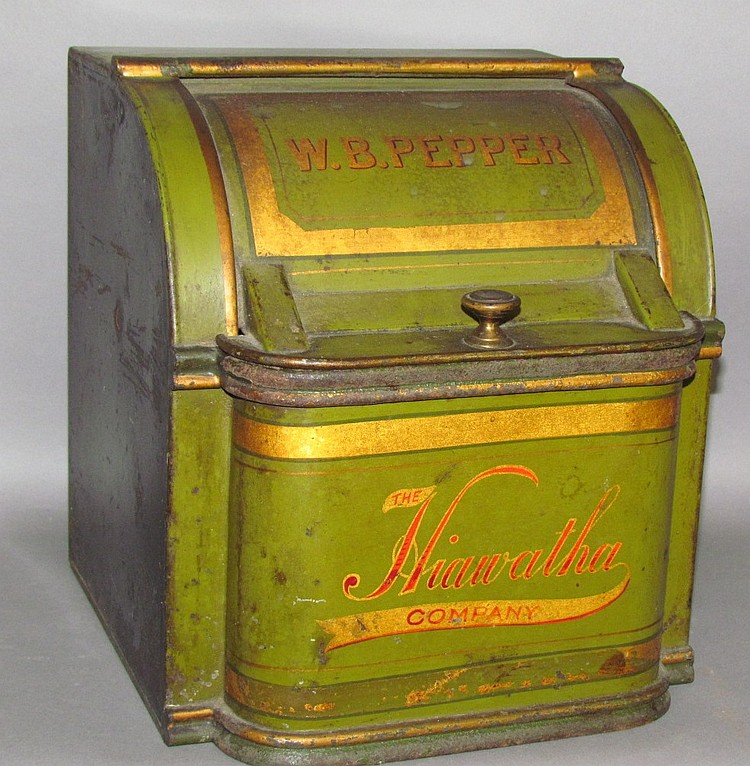 Heavy pressed tin C-roll top Hiawatha Co. spice tin