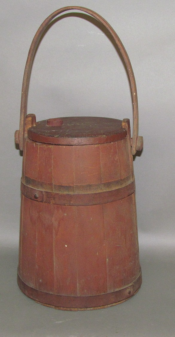 M. Haas painted wood firkin