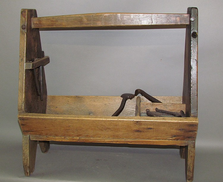 Wooden farrier's tool box with tools
