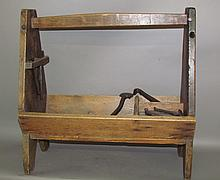 Lot 438: Wooden farrier's tool box with tools