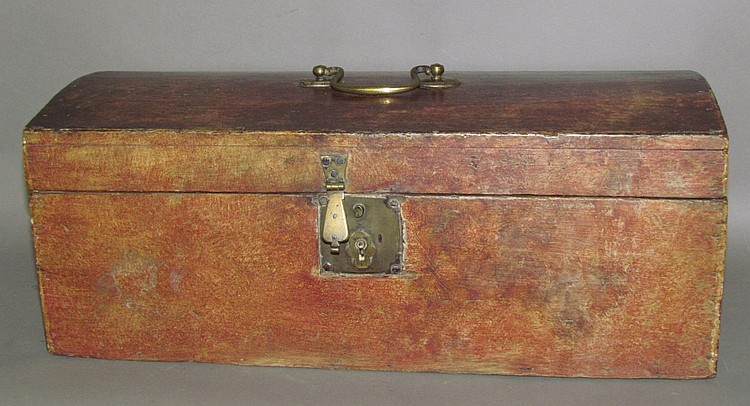 New England sponge paint decorated domed top document box