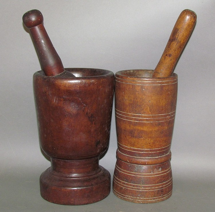 2 turned mortars & pestles