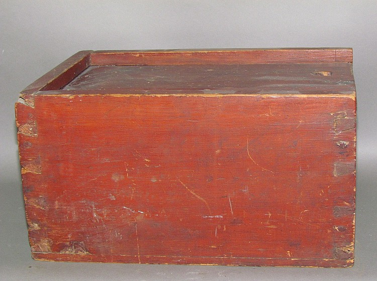 Red painted softwood slide lid box