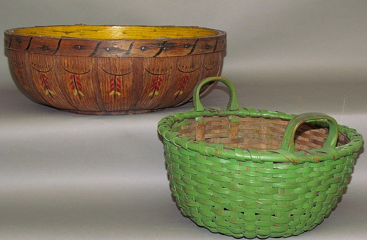 2 paint decorated baskets