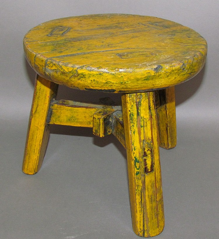 Yellow painted three foot milk stool