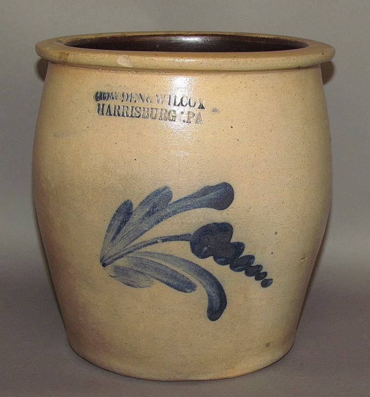 Cobalt decorated Cowden & Wilcox stoneware crock