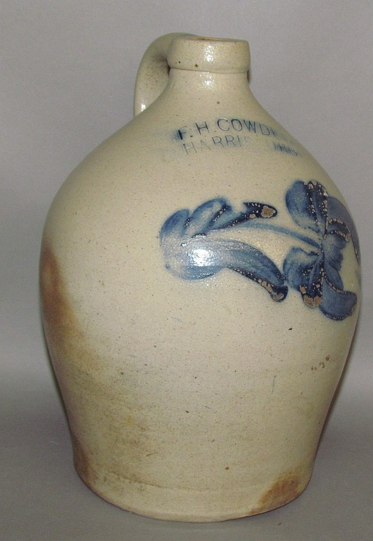 Cobalt decorated F.H. Cowden stoneware jug