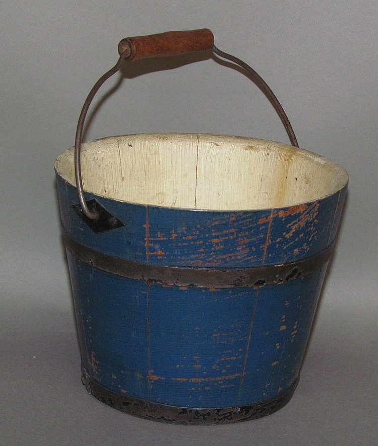 Child's blue painted candy bucket