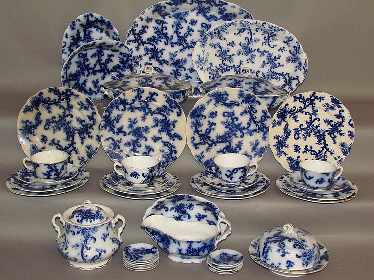 Large group of Flow Blue Paisley by Mercer Pottery Co.