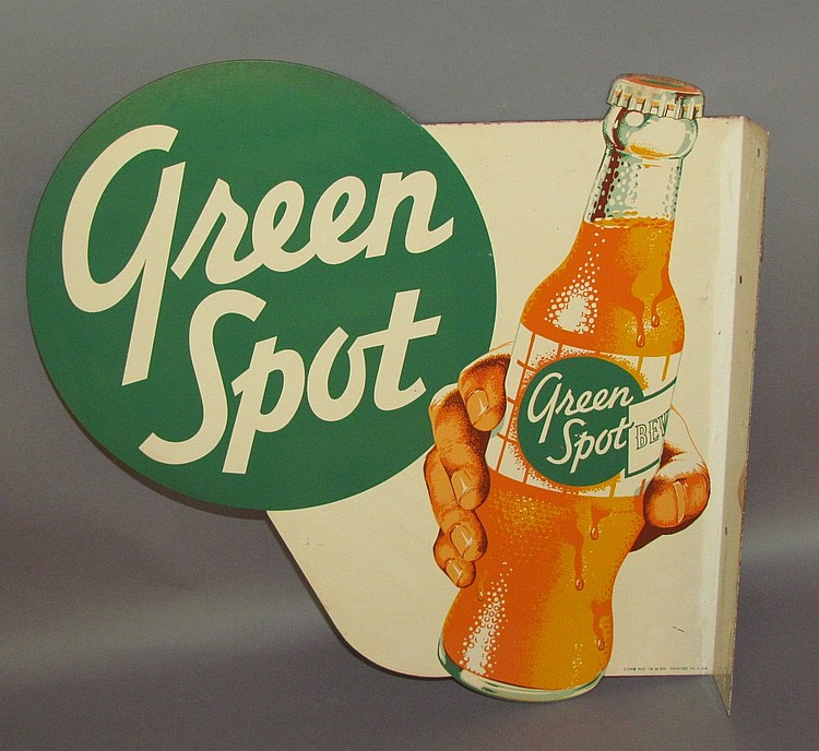 "Two sided ""Green Spot"" soda sign"