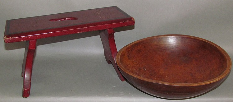 Wooden footstool & butter bowl