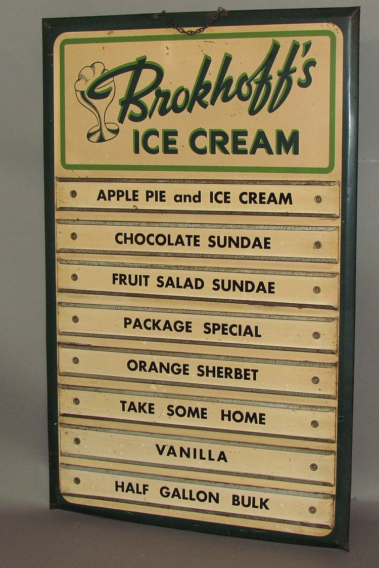 Brokhoff's Dairy Ice Cream menu board